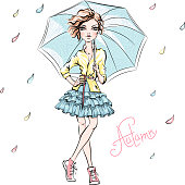Vector beautiful fashion girl in autumn clothes, sneakers, jacket and skirt with umbrella