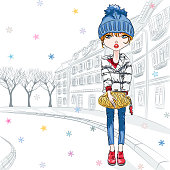 Vector beautiful fashion hipster girl in winter clothes, sneakers, jacket and hat with bag in the Old Town