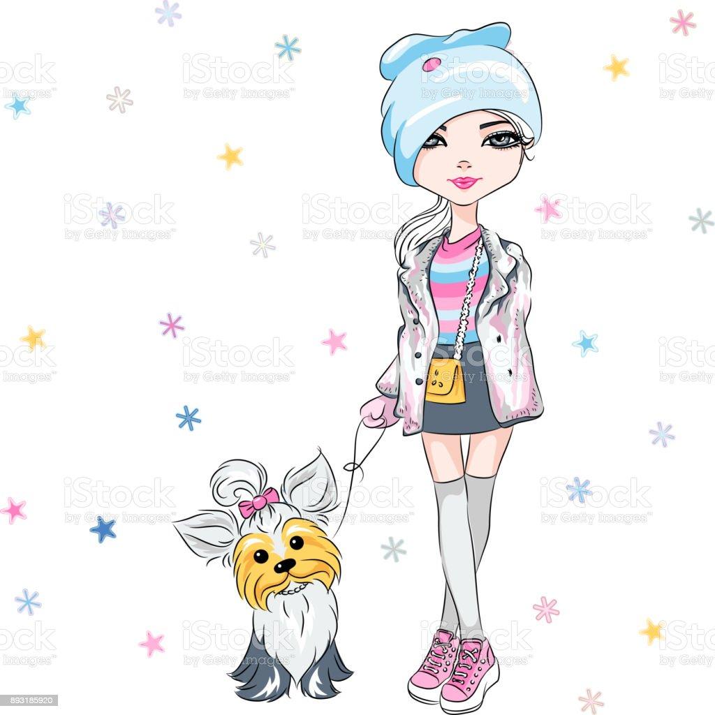 Vector fashion girl with dog vector art illustration