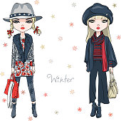 Vector beautiful fashion hipster girls in winter clothes, sneakers, jacket and hat with bag