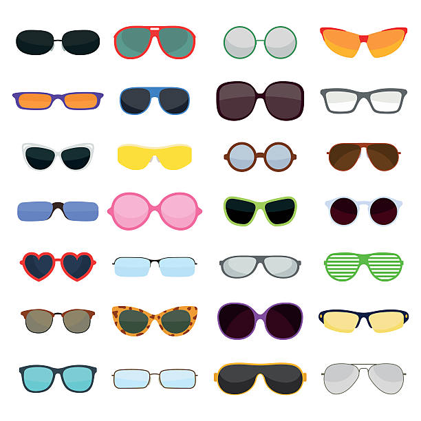 vector fashion glasses isolated on white background - sunglasses stock illustrations, clip art, cartoons, & icons