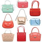 Vector Fashion Handbags isolated on white background