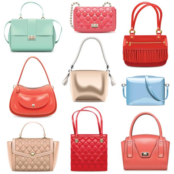 illustrazioni stock, clip art, cartoni animati e icone di tendenza di vector fashion handbags - borsetta