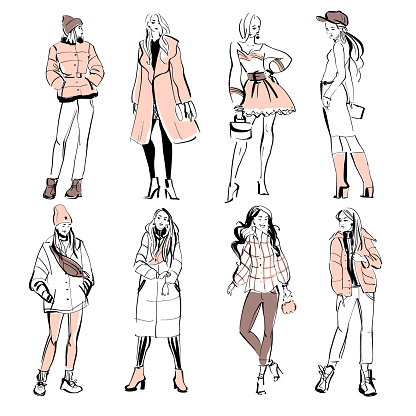 Vector fashion illustration of modern young girl models in spring autumn cloth collection isolated on white background.