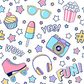 istock Vector fashion seamless pattern with ice cream, roller skates, headphones, photo camera, stars, popcorn and sunglasses. Colorful party background 1218540902