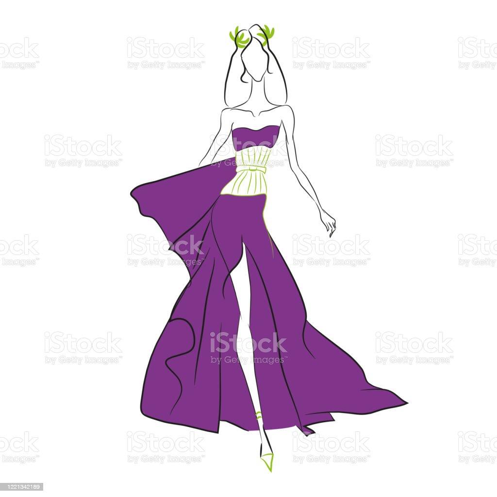 vektormodeskizze schönes modell zu fuß auf dem laufsteg in langen lila  kleid mit hohen schnitt und engen olivenkorsett lorbeerkranz dünne
