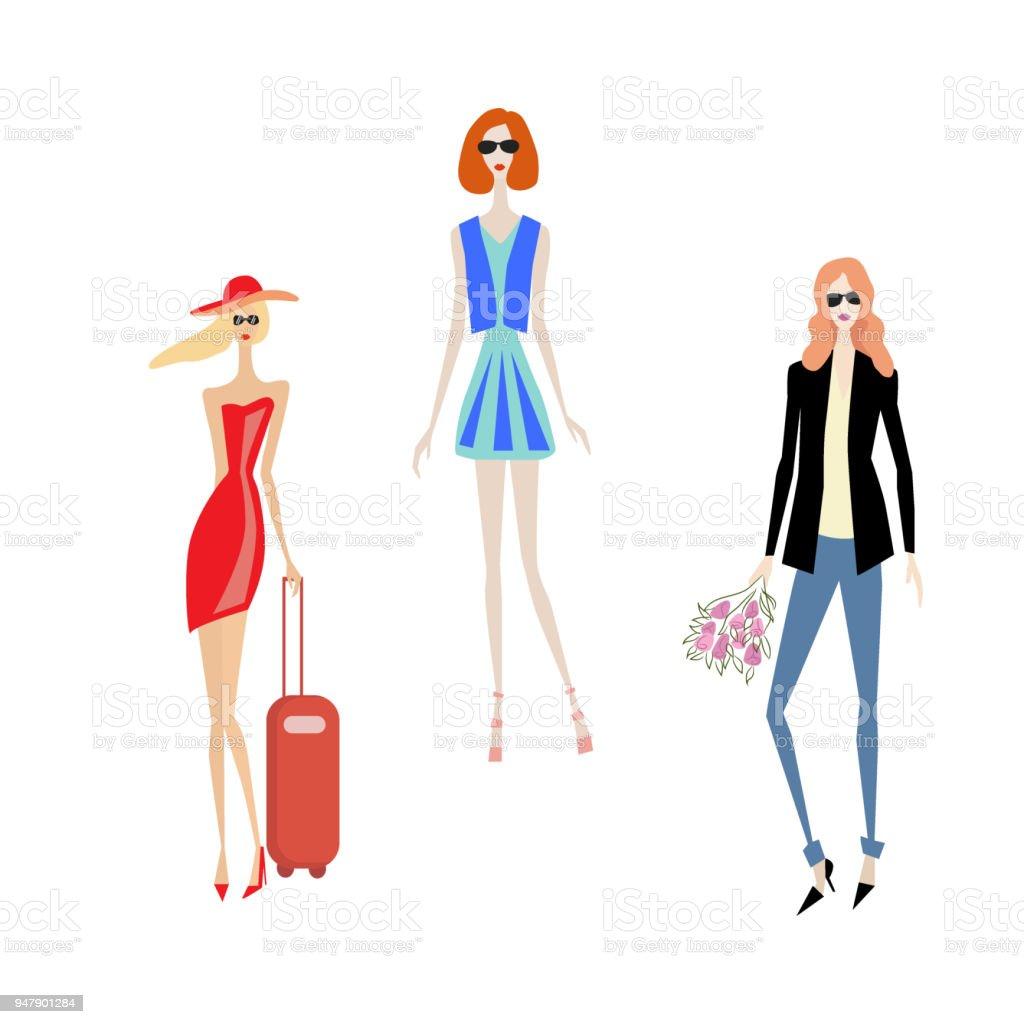 Ilustração De Vector Conjunto De Desenho De Moda Belas Modelos