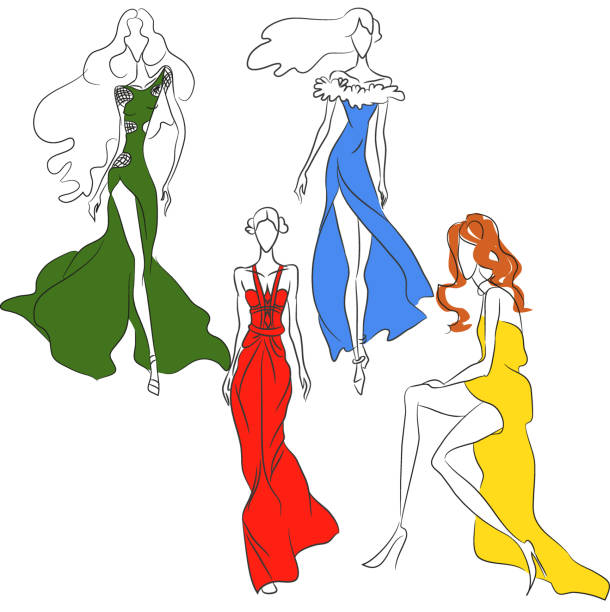 illustrazioni stock, clip art, cartoni animati e icone di tendenza di vector fashion sketch. set of beautiful models in cocktail dresses - alta moda italy