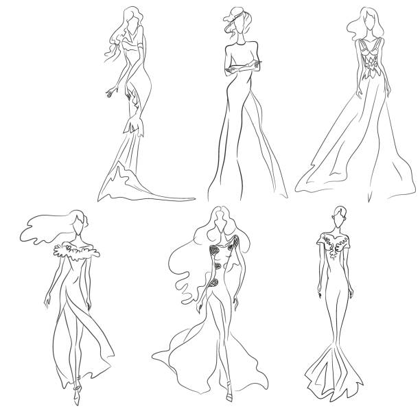 illustrazioni stock, clip art, cartoni animati e icone di tendenza di vector fashion sketch. set of beautiful models - alta moda italy
