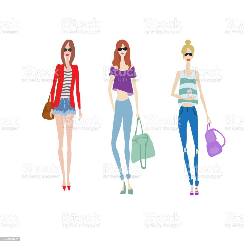 Ilustración de Conjunto De Bocetos De Moda Vector Hermosa Modelo En ...