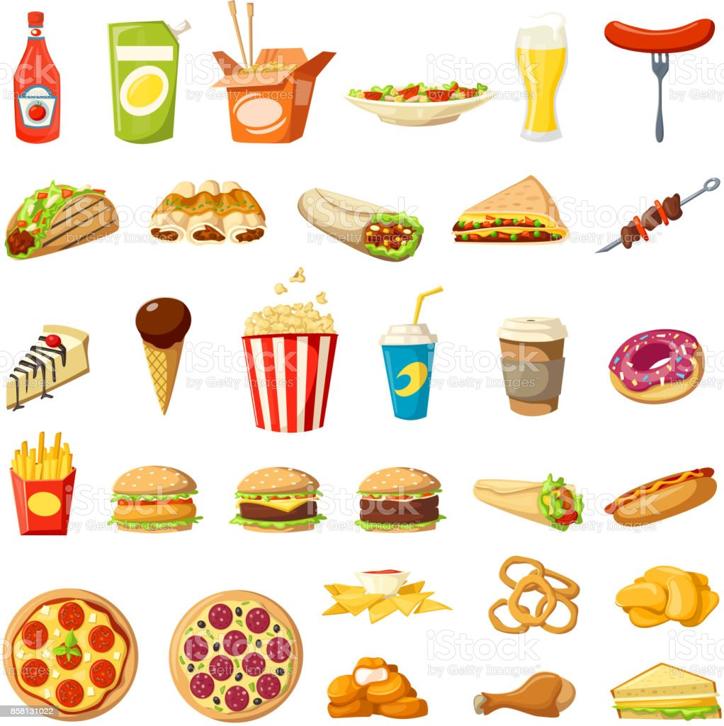 Vector Fast food icons isolated burgers sandwiches vector art illustration