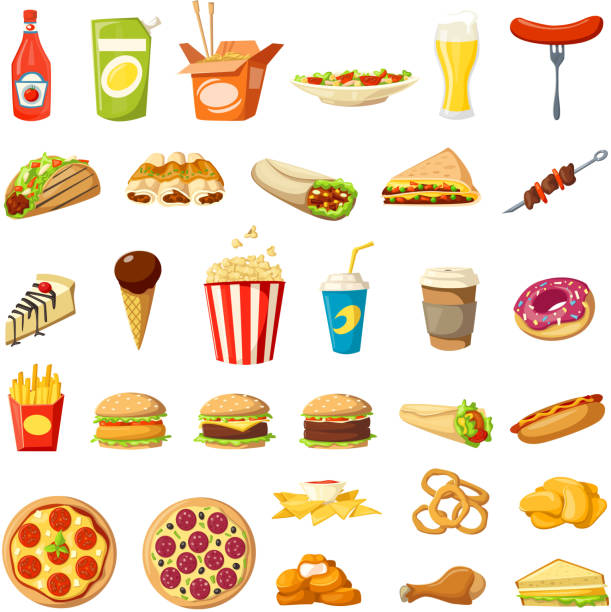 Vector Fast food icons isolated burgers sandwiches Fast food flat icons set. Vector isolated cheeseburger burger, hot dog sandwich and pizza, donut or popcorn dessert and coffee drink, cake or burrito and tacos or ice cream and fries for fastfood menu french fries stock illustrations