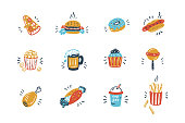 Vector Fast Food Icons Set. Doodle Unhealthy Street Food Collection.