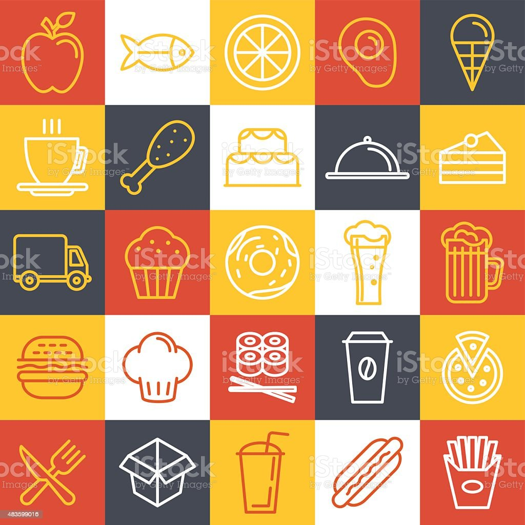 Vector fast food icons vector art illustration