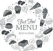 Vector fast food round banner. Fast food monochrome decorative icons.