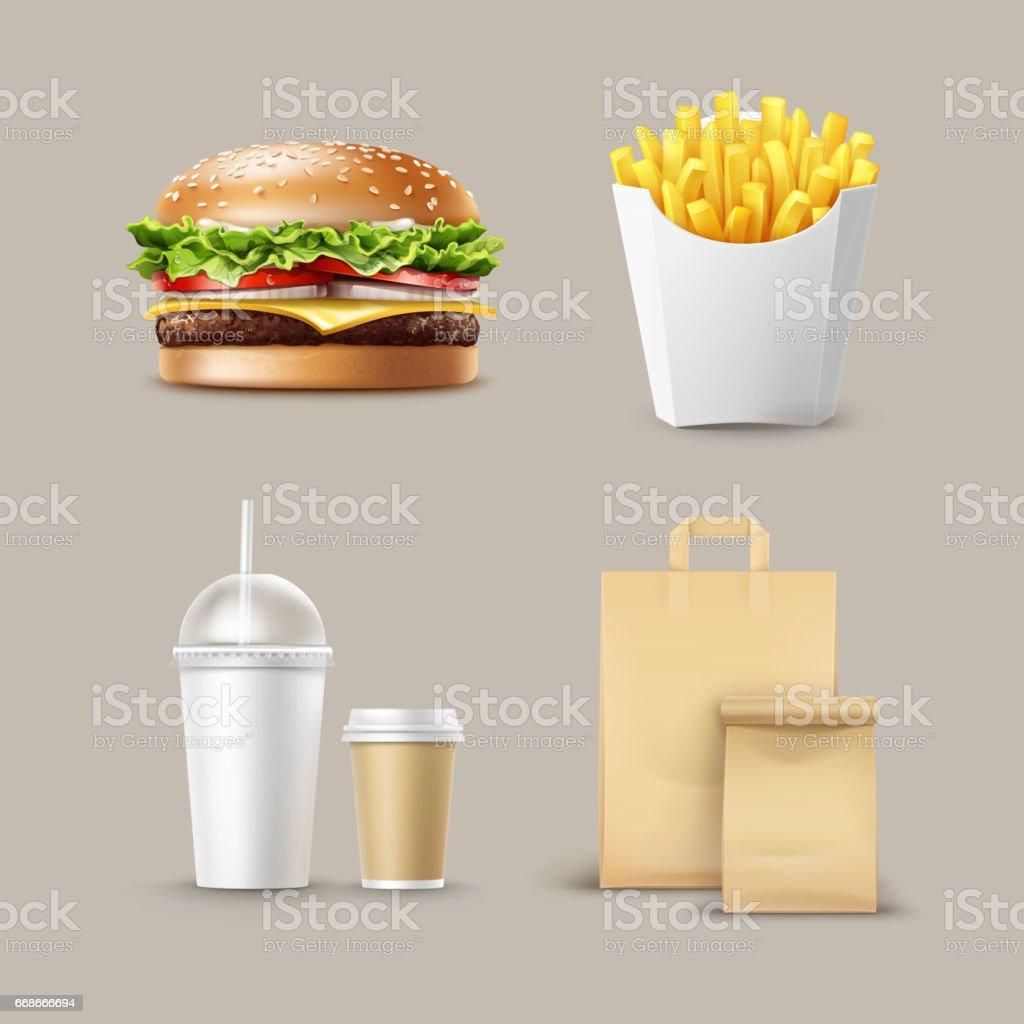Conjunto de Fast-Food de vetor - ilustração de arte em vetor