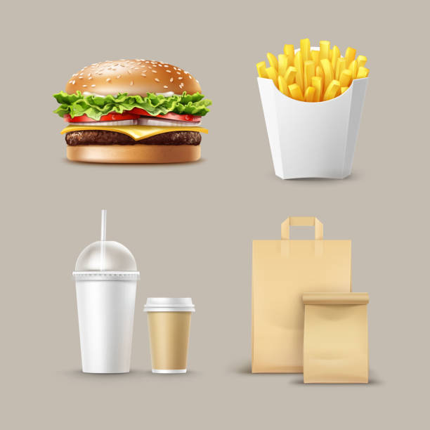 Vector Fast Food Set Vector Fast Food Set of Realistic Hamburger Classic Burger Potatoes French Fries in White Package Box Blank Cardboard Cups for Coffee Soft Drinks with Straw and Craft Paper Take Away Handle Lunch Bags. french fries stock illustrations