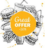 Vector vintage fast food special offer. Hand drawn Junk food circle frame illustration. Soda, hot dog, pizza, burger and french fries drawing. Great for label, menu, poster, banner, voucher, coupon