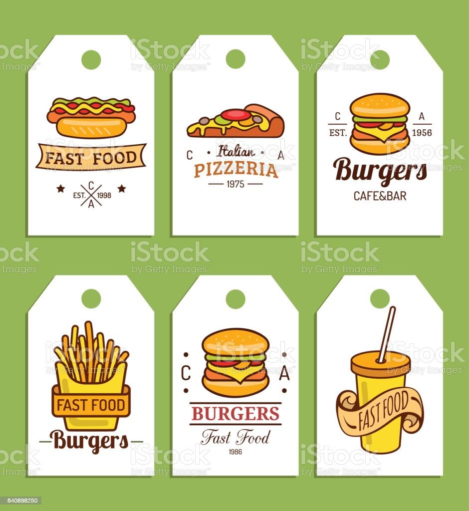 Vector fast food tags. Burgers, hot dogs, fry potato,pizza etc. illustrations. Hand drawn quick meals labels collection. vector art illustration