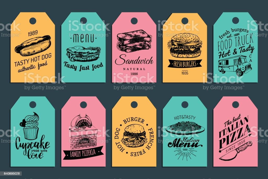 Tags de vecteur de Fast-Food. Hamburgers, hot-dogs, illustrations etc. de sandwich. Vintage à la main tiré de repas rapides collection labels. - Illustration vectorielle