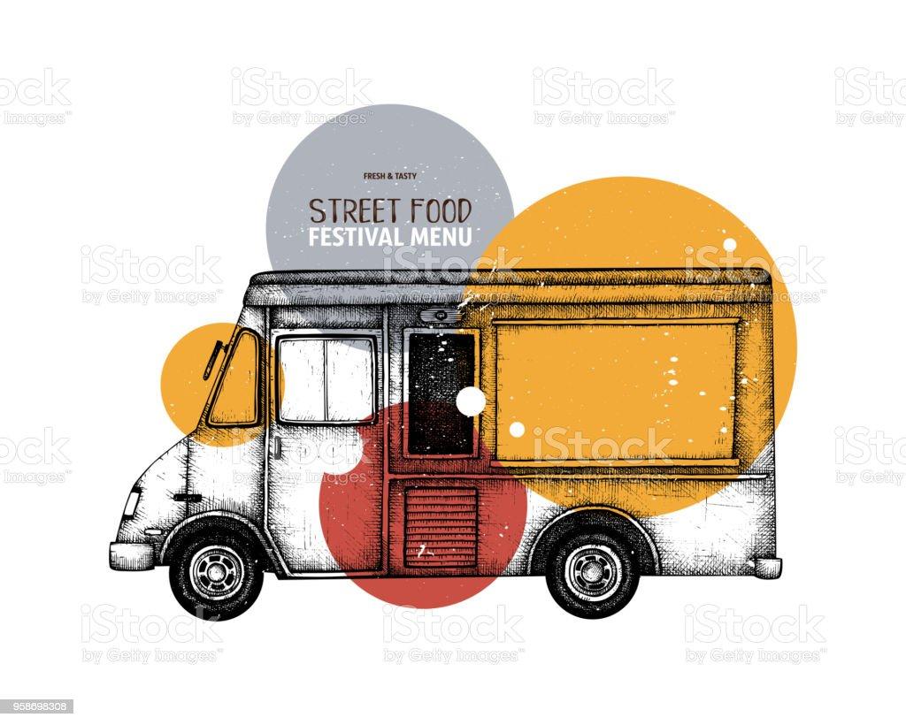 ベクトル ファーストフード トラック設計 アイコンのベクターアート