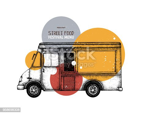 Vintage food truck sketch. Vector template for logo, icon, label, packaging, poster. Fast food festival menu design.
