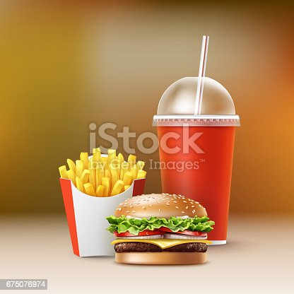 Vector Fast Food Set of Realistic Hamburger Classic Burger Potatoes French Fries in Red Package Box Blank Cardboard Cup for Soft Drinks with Straw Isolated on Colorful Blur Background.