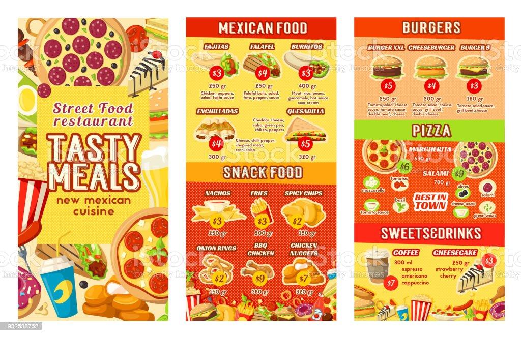 Vector fastfood street food restaurant cafe menu vector art illustration