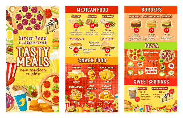 vector fastfood street food restaurant cafe menu - junk food stock illustrations, clip art, cartoons, & icons