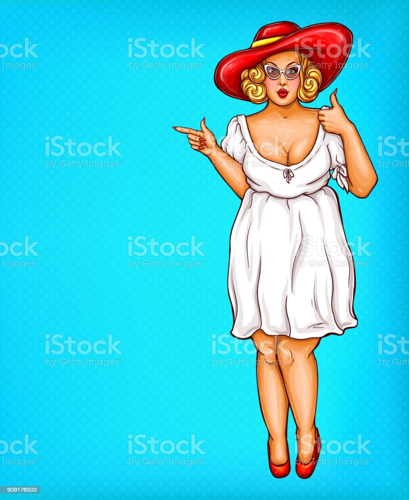 Vector fat, obese blonde pin up woman in hat, pop art plus size model in white dress pointing a finger at discounts,sale vector art illustration