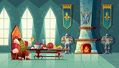 Vector feast concept, king eats food, meal