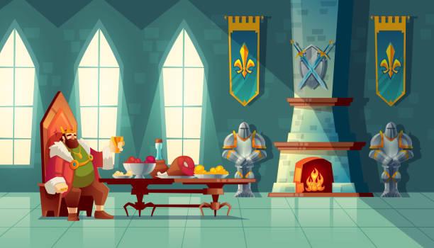 ilustrações de stock, clip art, desenhos animados e ícones de vector feast concept, king eats food, meal - muita comida
