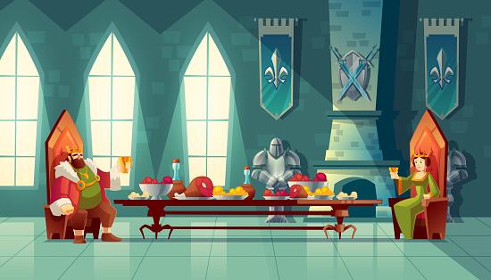 Vector feast concept, king, queen eats food