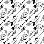 Vector Feather and Arrow Background Pattern - Seamless and Tileable