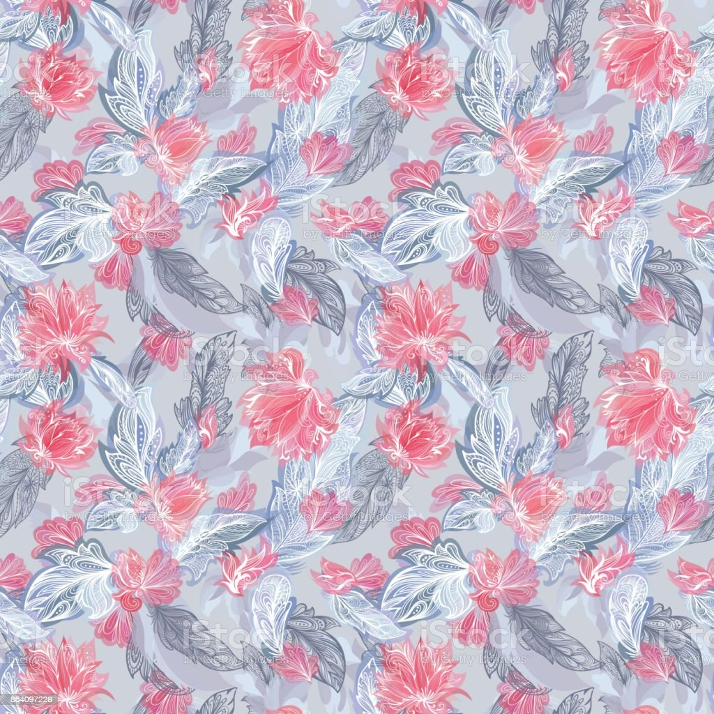 Vector Feather and Flower Pattern royalty-free vector feather and flower pattern stock vector art & more images of art