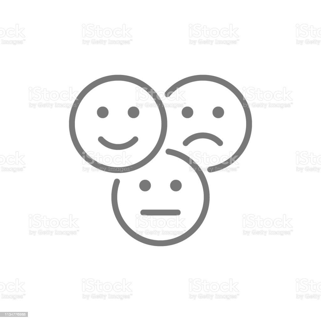 Vector Feedback-Emoticons, positive, negative und neutrale Gesichter Line-Icon. - Lizenzfrei Beige Vektorgrafik
