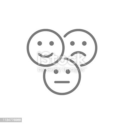 istock Vector feedback emoticons, positive, negative and neutral faces line icon. 1134776988