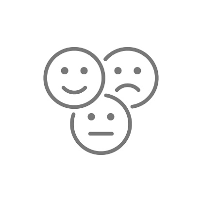 Vector feedback emoticons, positive, negative and neutral faces line icon. Symbol and sign illustration design. Isolated on white background