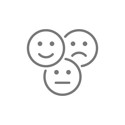 Vector Feedbackemoticons Positive Negative Und Neutrale Gesichter Lineicon Stock Vektor Art und mehr Bilder von Beige