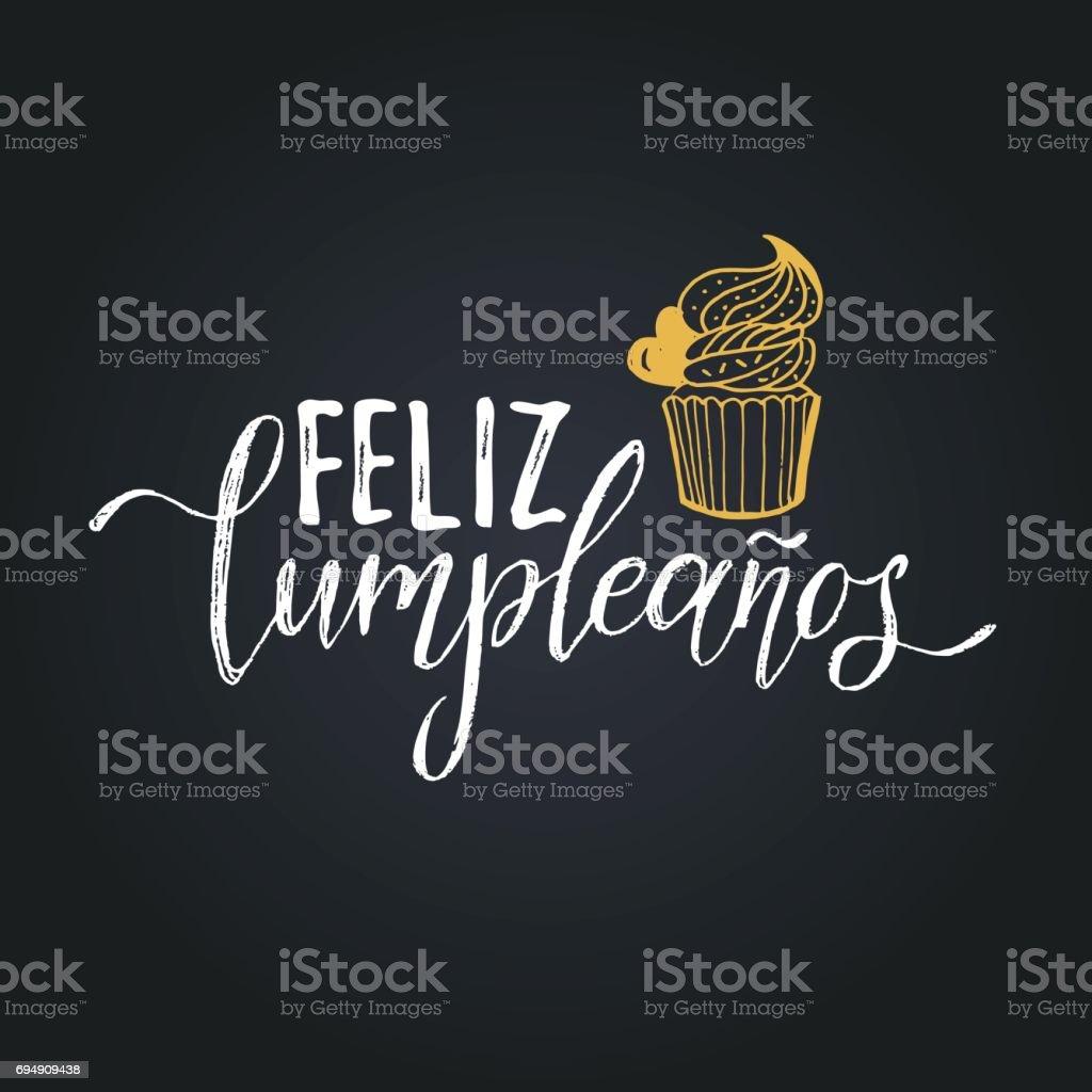 Vector Feliz Cumpleanos Translated Happy Birthday Lettering Design