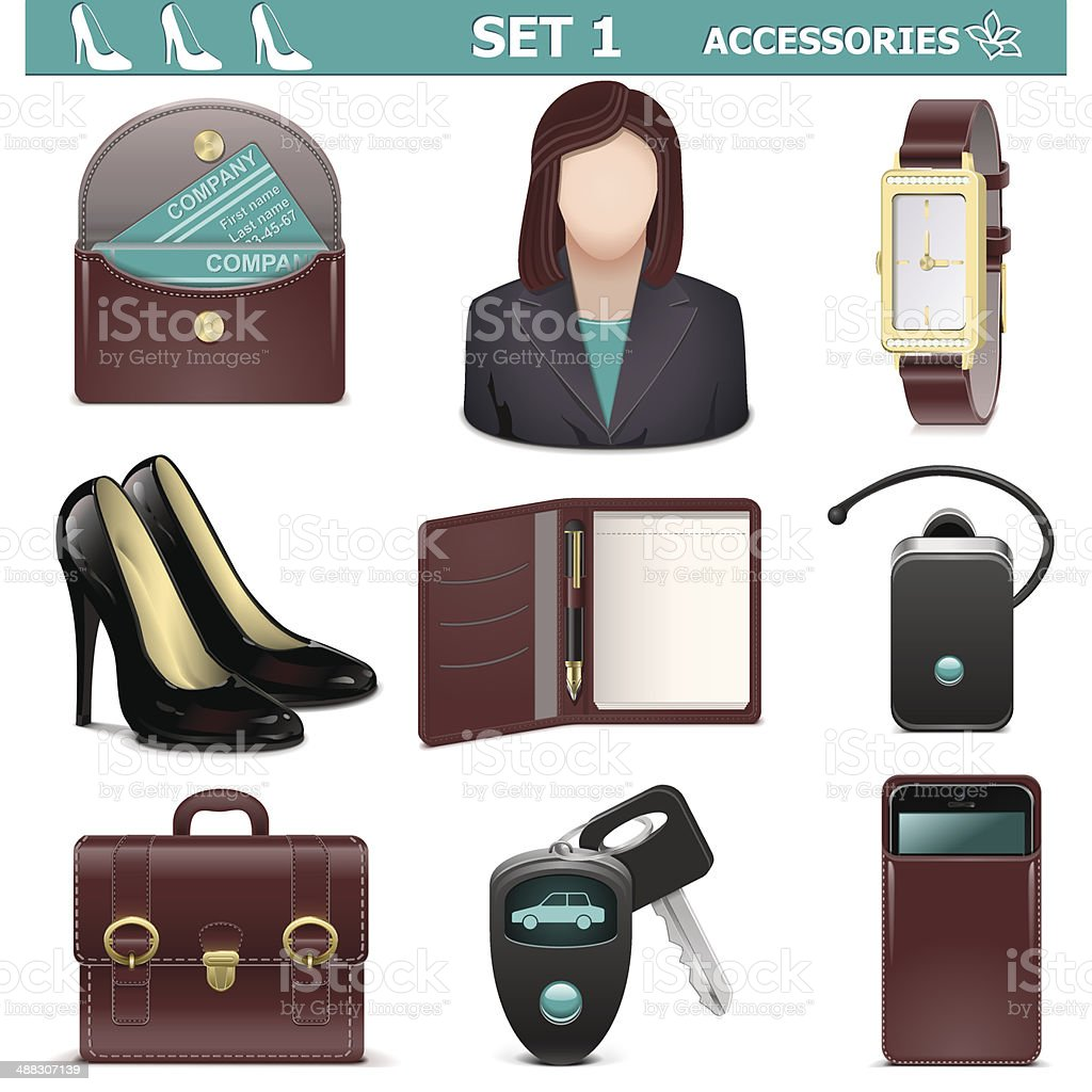 Vector Female Accessories Set 1 royalty-free stock vector art