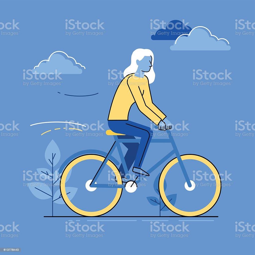 Vector female character - woman riding bicycle - ilustração de arte em vetor