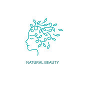 Vector Female Face Symbol in Linear Style. Woman Profile  with Floral Hair Icon. Natural Beauty Concept.