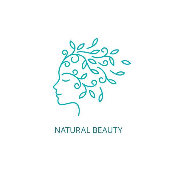 Vector Female Face Symbol in Linear Style vector art illustration