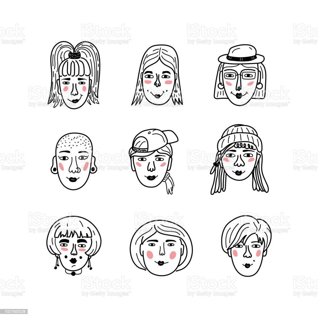 Ilustración De Caras Femeninas De Vector Doodle Retratos De