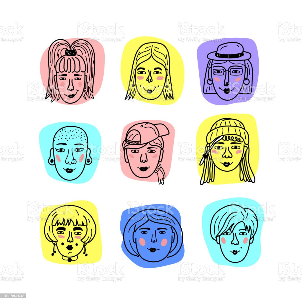 Vector female faces doodle portraits of girls funny avatars of women hand