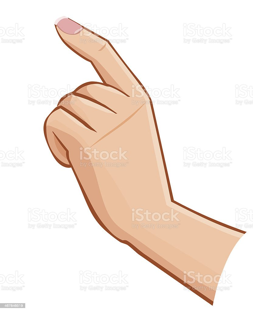 vector female hand touching screen isolated on white background vector art illustration
