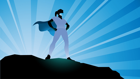 Vector Female Healthcare Worker Superhero Silhouette Stock Illustration