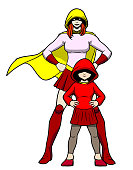 A comic book style vector illustration of a female kid with her superhero friend. Isolated, easy to grab and edit. Put your logo or text on the chest or space available.