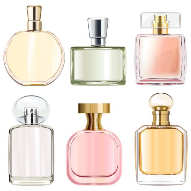 Vector Female Perfume Bottles Vector Female Perfume Bottles isolated on white background scented stock illustrations